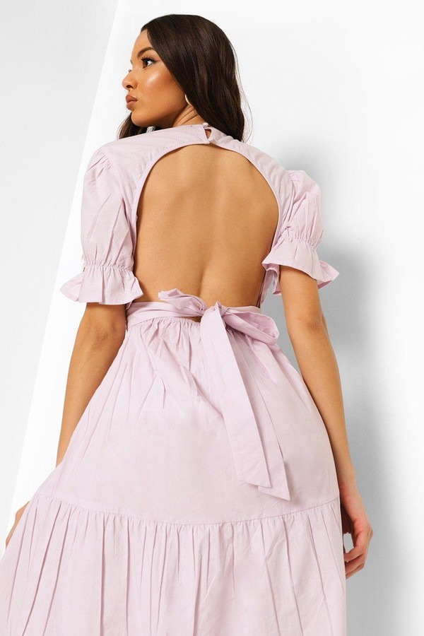 Thumbnail for your product : boohoo Puff Sleeve Open Back Midaxi Dress