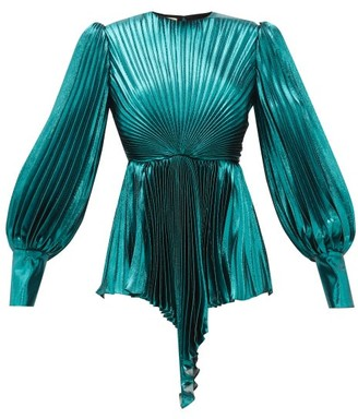 Gucci Plisse Metallic Silk-blend Blouse - Blue