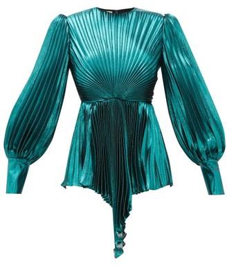 Gucci Plisse Metallic Silk-blend Blouse - Womens - Blue
