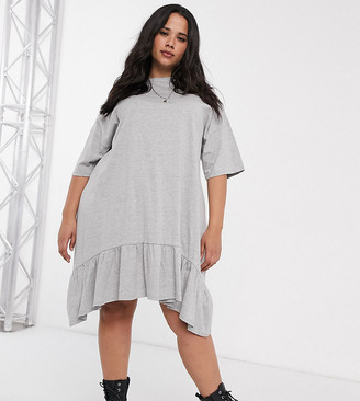 Asos DESIGN Curve oversized smock dress with tiered dip hem in grey marl