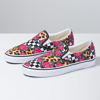 Vans Rose/Animal Check Classic Slip-On