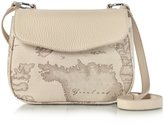 Alviero Martini Small Geo Safari Print and Cream Grained Leather Crossbody Bag