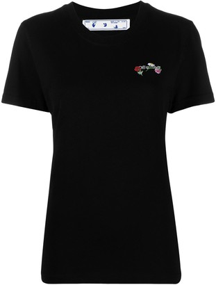 Off-White embroidered flowers Arrows T-shirt