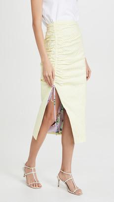 Prabal Gurung Seersucker Side Ruched Skirt