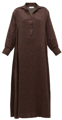 Asceno - Porto Mosaic Print Silk Shirtdress - Womens - Brown Print