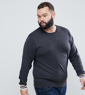 French Connection PLUS Crew Neck Knitted Jumper with Contrast Cuff-Grey