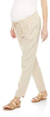 Maternity Linen Ankle Pant With Drawstring