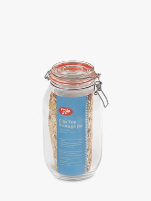 Tala Airtight Silicone Seal Clip Top Glass Storage Jar, Clear/Silver