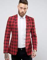 Asos Super Skinny Blazer in Red Check