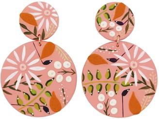 Emily Laura Designs Dark Pink Flower Circle Earrings