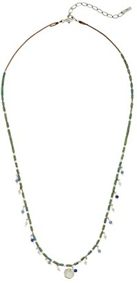 Chan Luu Beaded Short Necklace with Semi Precious Stones (Green Mix) Necklace