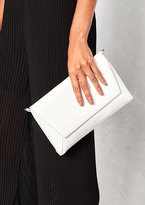Missy Empire Bray White Leather Crocodile Print Clutch