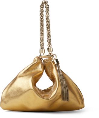 Jimmy Choo CALLIE Metallic Leather Clutch Bag With Chain Strap