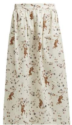 Edward Crutchley Monkey-print Cotton-poplin Skirt - Womens - Cream