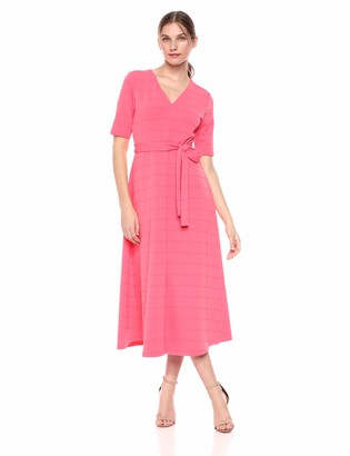 Chaus Women's Elbow SLV Raised Stripe Snit Dress