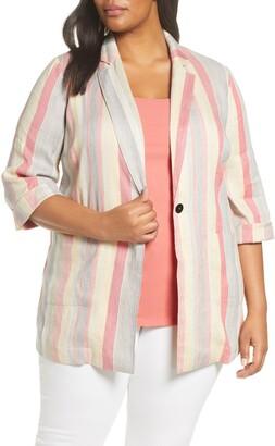 Nic+Zoe Sweetclover Stripe Linen Blend Blazer