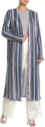 Tov Metallic Stripe Tie Waist Pleated Duster