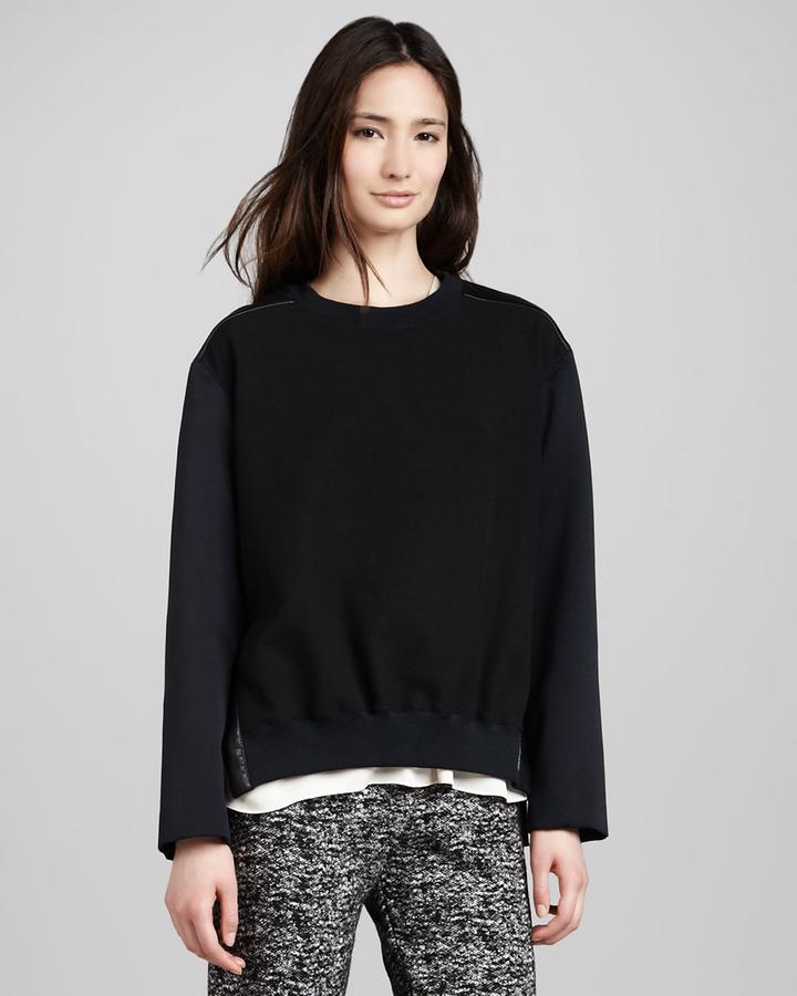 Halston Mix-Fabric Sweatshirt