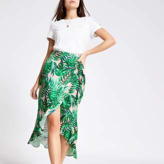 River Island Womens Green palm print frill midi skirt