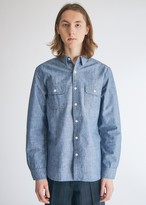 Beams Men's Work Shirt Chambray in Blue Chambray, Size Small | 100% Cotton