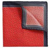HUGO BOSS Patterned Italian Silk Twill Pocket Square One Size Red