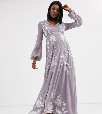 Asos DESIGN Maternity maxi dress with split sleeve in ocassion embroidery and circle trim