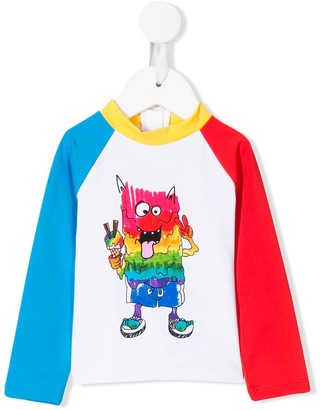 Stella Mccartney Kids Rainbow Monster Print Rash Guard