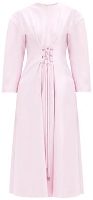 Tibi Lace-up Crepe Midi Dress - Light Pink