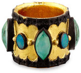 Armenta Old World Midnight Scalloped Cigar Ring with Boulder Opals