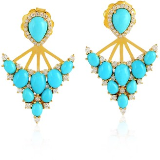 Artisan 18K Gold Ear Jacket Earring Turquoise Gemstone Pave Diamond Jewelry