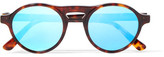 Westward Leaning Dyad Round-frame Acetate Mirrored Sunglasses - Tortoiseshell