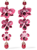 Etro Gold-plated, Enamel, Resin And Crystal Earrings - Pink