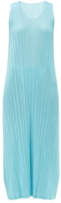 Pleats Please Issey Miyake Round-neck Technical-pleated Dress - Blue