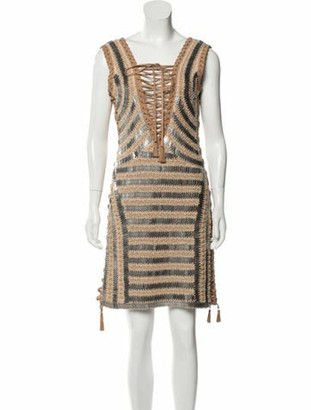 Salvatore Ferragamo Leather-Trimmed Mini Dress Tan