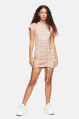 Topshop Toffee Cupro Ruched Ribbed Mini Dress