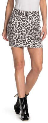 Good American Leopard Print Raw Edge Mini Skirt (Regular & Plus Size)