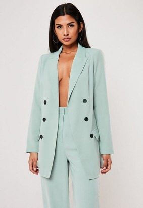 Missguided Mint Co Ord Oversized Button Front Blazer