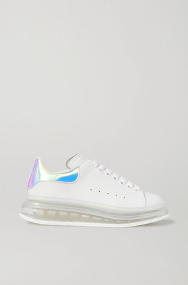 Alexander McQueen Iridescent-trimmed Leather Exaggerated-sole Sneakers - White