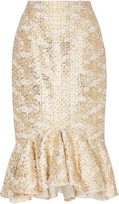 Rodarte Ruffle Hem Metallic Tweed Pencil Skirt