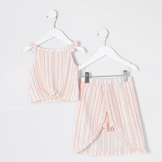 River Island Mini girls White stripe frill skort outfit