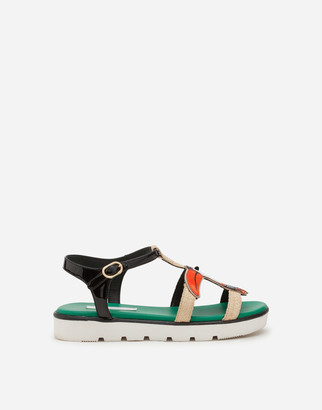 Dolce & Gabbana T-Strap Sandals In Straw With Tucan Patch