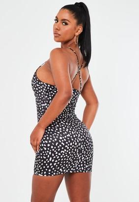 Missguided Black Dalmatian Satin Cowl Mini Dress