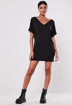 Missguided Petite Black Wide V-neck T-shirt Dress