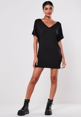 Missguided Petite Black Wide V-Neck T-Shirt Dress
