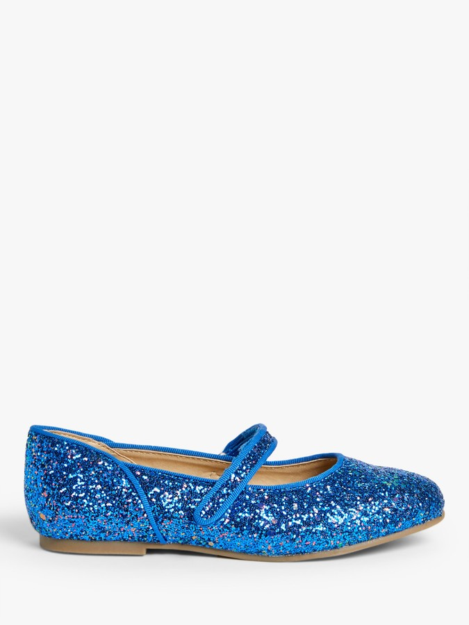 John Lewis & Partners Children's Glitter Ballet Pumps, Royal Blue
