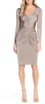 Eliza J Ruched Long Sleeve Cocktail Sheath