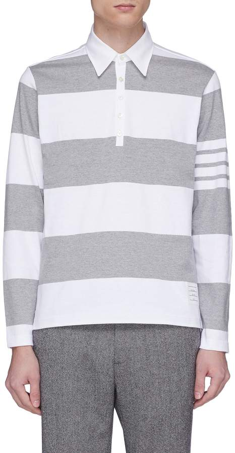 Thom Browne Stripe jersey long sleeve polo shirt