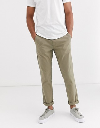 Selected straight fit stretch chinos-Beige