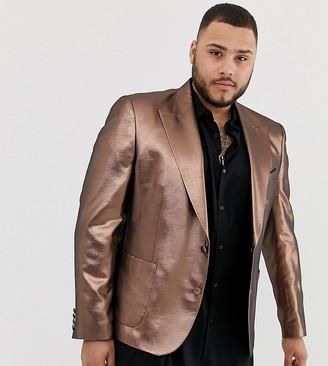 Asos DESIGN Plus skinny 70s metallic copper prom blazer