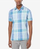 Perry Ellis Men's Chambray Plaid Short-Sleeve Shirt